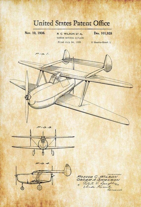 Patent print poster of a Tandem Motored Biplane invented by R. C. Wilson. The patent was issued by the United States Patent Office on November 10, 1936. As the patent shows the plane has an engine in the front and one in the back with a double tail configuration. Patent prints allow