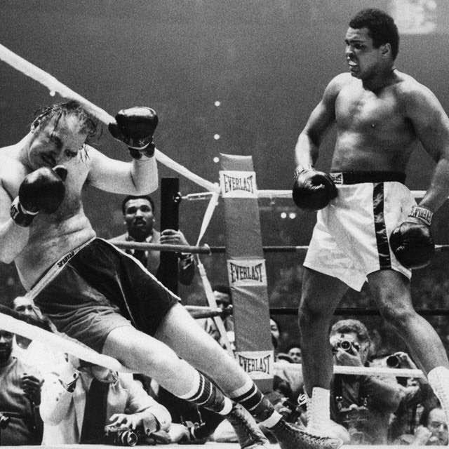 Ali vs. Chuck Wepner. This fight inspired the Rocky movie.