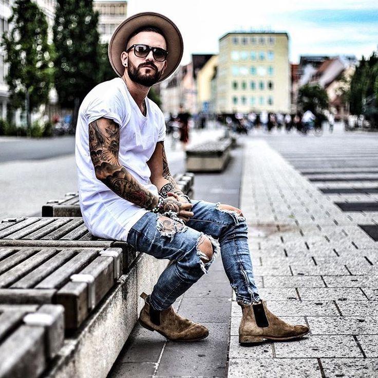 Men's Fashion summer 2016                                                                                                                                                                                 More, Chapéu masculino, Camiseta Lisa Branca, Calça Skinny, Calça Rasgada, Chelsea Boot, Tattoo, Moda masculina,