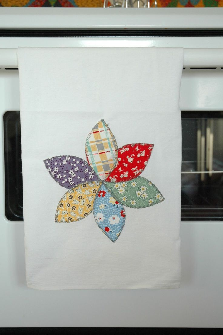 reproduction feedsack print flower on a flour sack towel