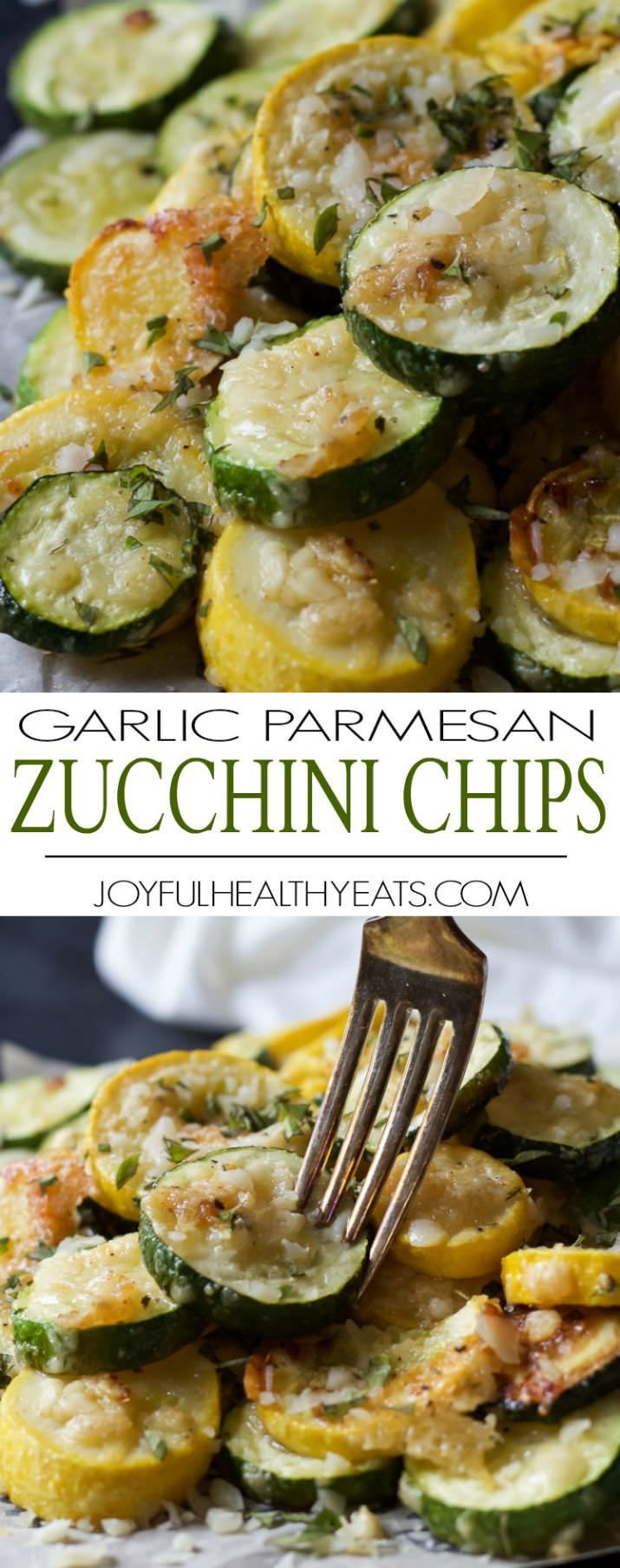 Crispy Parmesan Garlic Zucchini Chips you won't be able to stop popping these in your mouth! Veggies never tasted so good!! Best way to use up extra zucchini! | joyfulhealthyeats.com