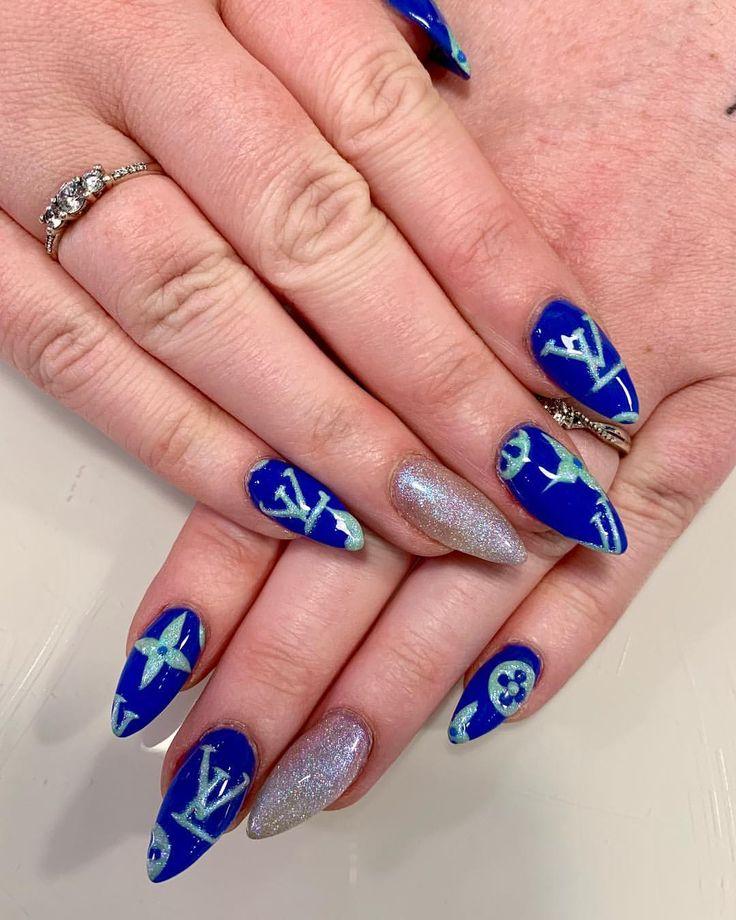 Acrylic nails, almond nails, nail art, blue nails, glitter nails, Luis Vuitton n…