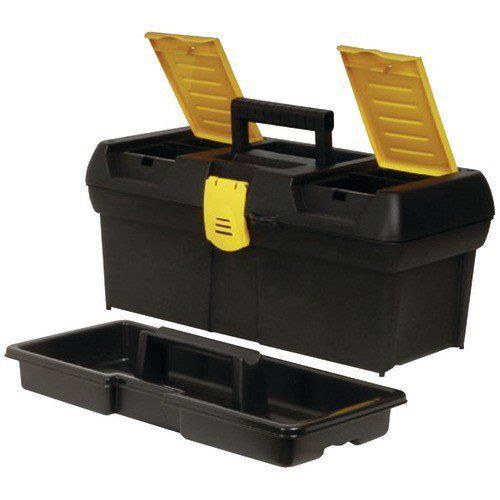 "Stanley 16"" Yellow Black Toolbox Organizer with Lift Out Tray and Compartments #Stanley"