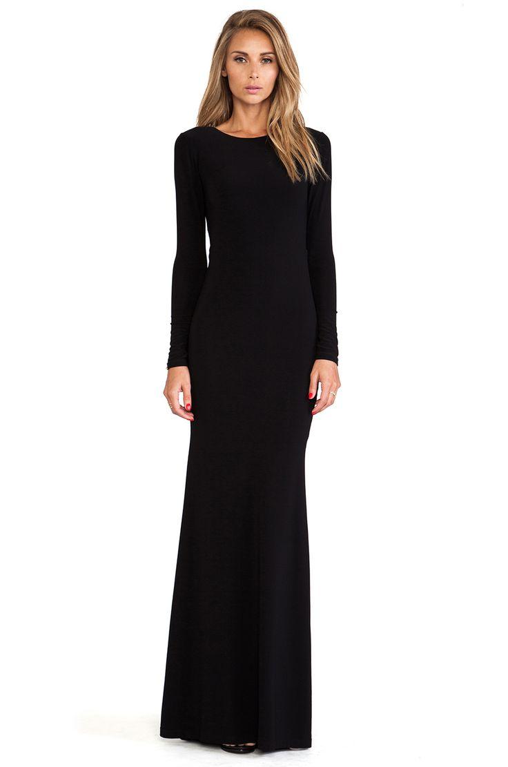Alice + Olivia Long Sleeve Maxi Dress in Black | REVOLVE