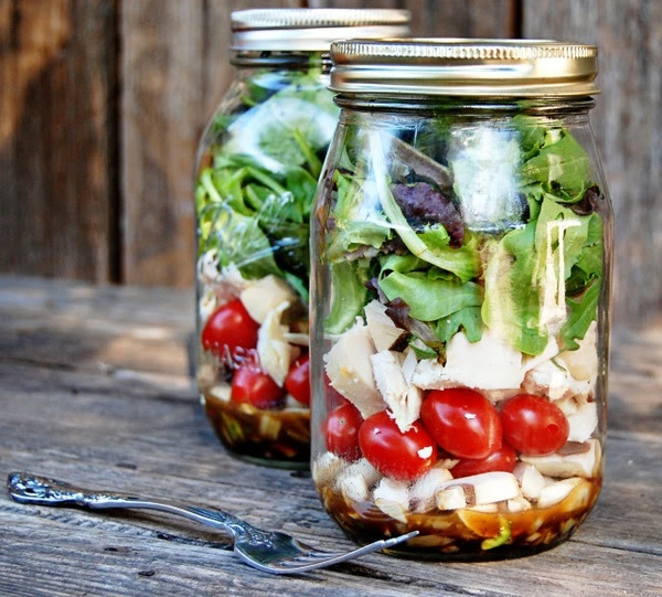 Love this idea ... One of the easiest ways to eat a Salad - In a Jar! Recipe includes how to make the dressing  layer your ingredients in the jar. Then just shake  eat! Use whatevers fresh out of your garden. | The Micro Gardener
