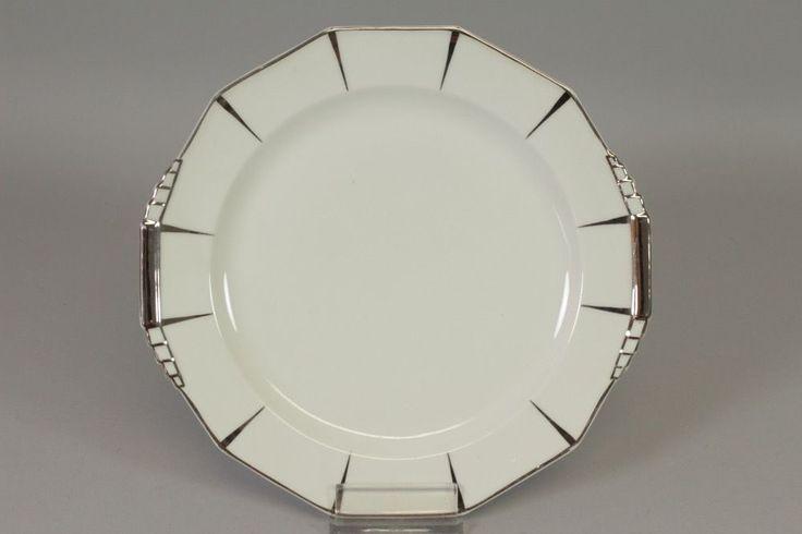 p1r23- Limoges Porzellan Teller mit Silver Overlay 20er Jahre