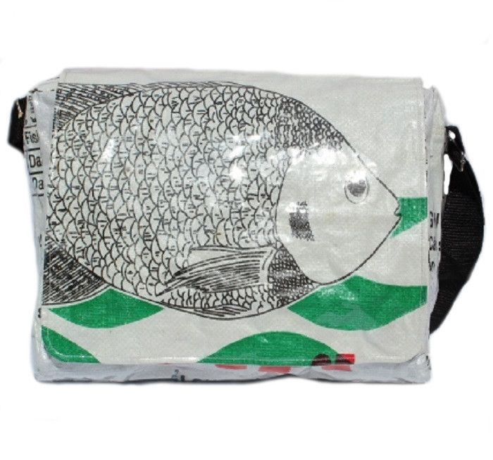 Recycled Fish Feed Messenger Bags Deluxe Hand Made | The Elephant Emporium