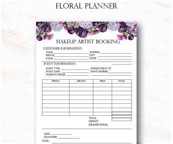 Blumen Make-up Artist Business Planner Bundle, freiberufliche Maskenbildner Formulare, Hochzeit Make-up Artist Kontakt, digitaler Download – Make up