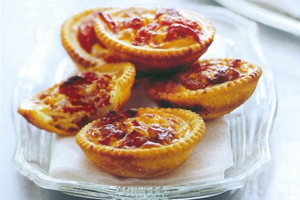 Chargrilled capsicum and chorizo tartlets  Bake pastry cases separately (11 mins)  Cook chorizo and onion first then spoon capsicum, chorizo and onion into tartlet cases.   Pour egg mixture in separately then bake (12 mins)