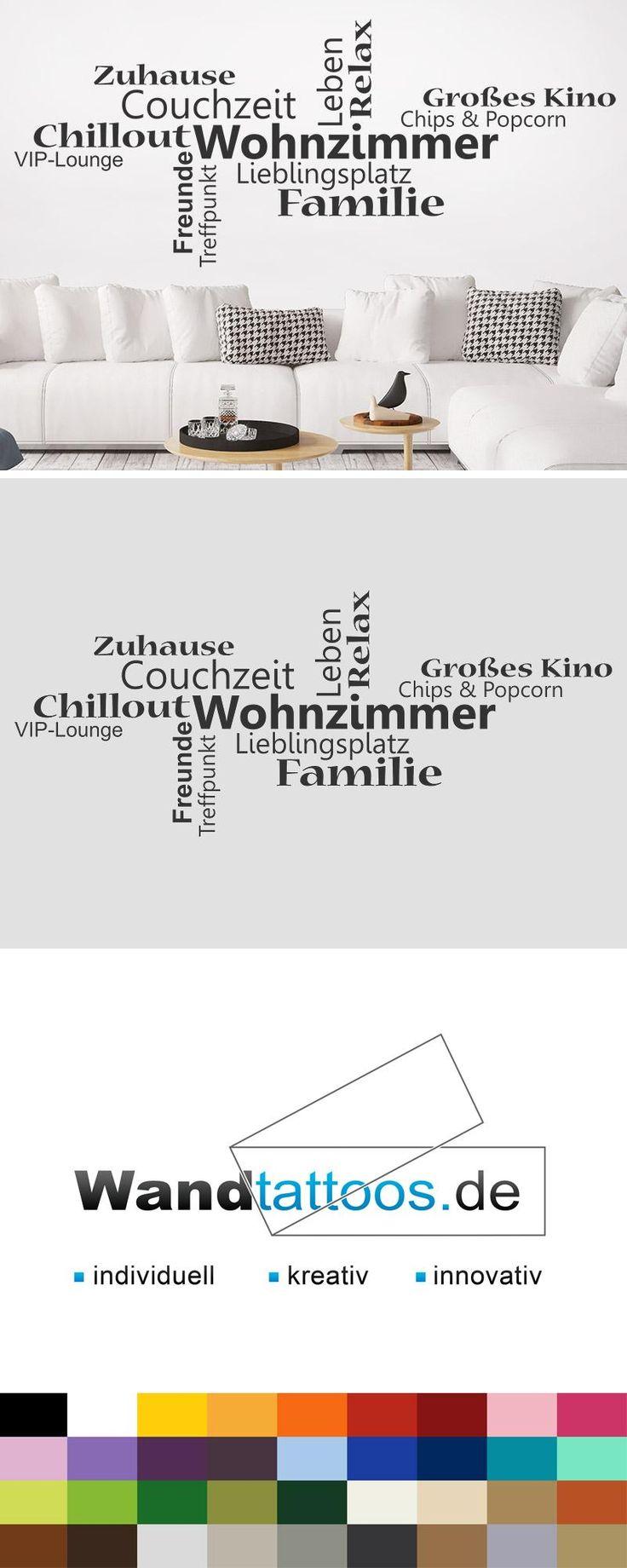 Trend Wandtattoo Wortwolke Wohnzimmer