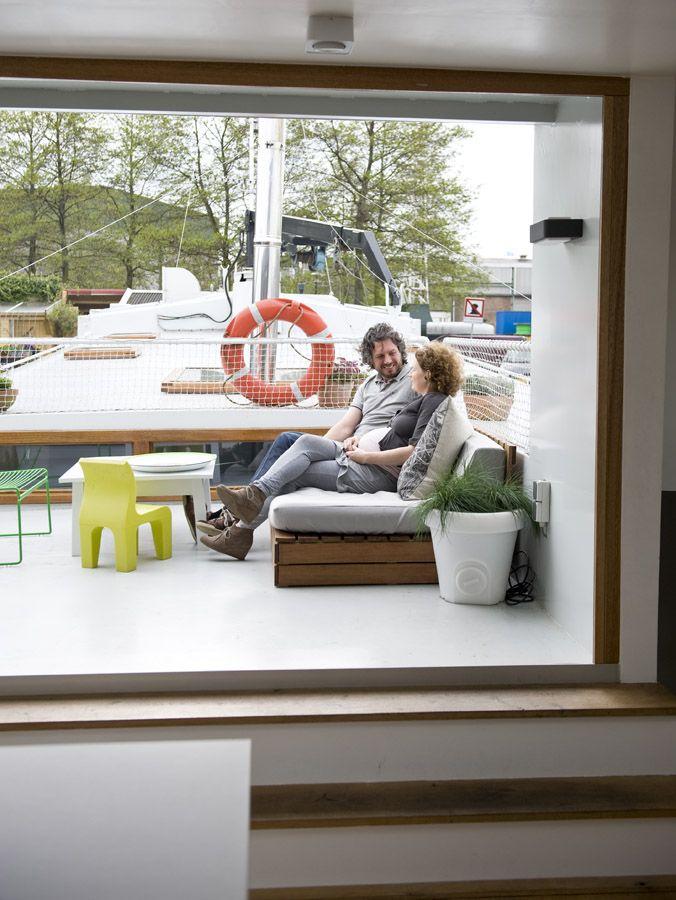 terrace of our houseboat Jolie - waterloft.nl