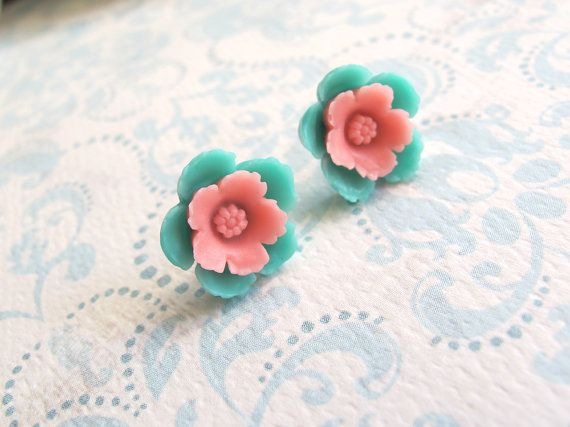 Sweet Pink and Green garden blossoms. Small flower by AnnMichy, $12.00