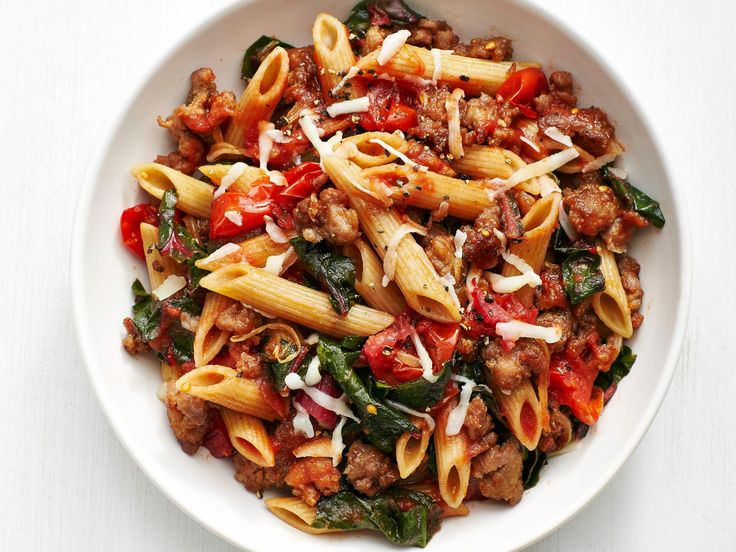 Whole-Wheat Pasta with Sausage and Swiss Chard recipe from Food Network Kitchen via Food Network