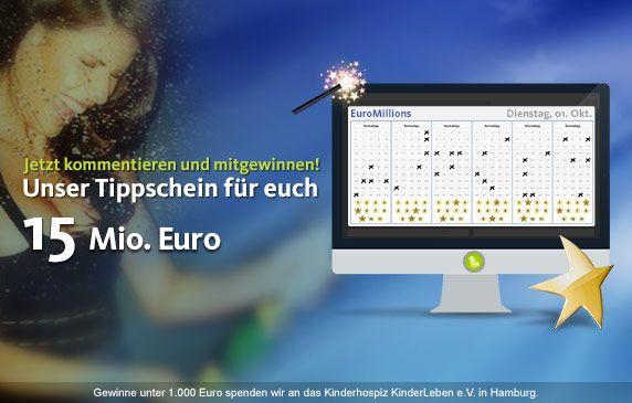 Genug geträumt - heute wird gewonnen!  Wir schenken euch einen #EuroMillions Tippschein!  Zur heutigen EuroMillions Ziehung sind satte 15 Mio. Euro im #Jackpot! Unter allen, die diesen Beitrag re-pinnen oder ihre Daumen auf unserer Facebook-Seite drücken, teilen wir den #Gewinn auf!