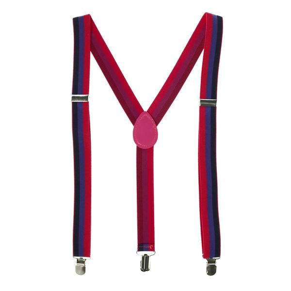 Solid Kids Clip Suspenders Red Stripes