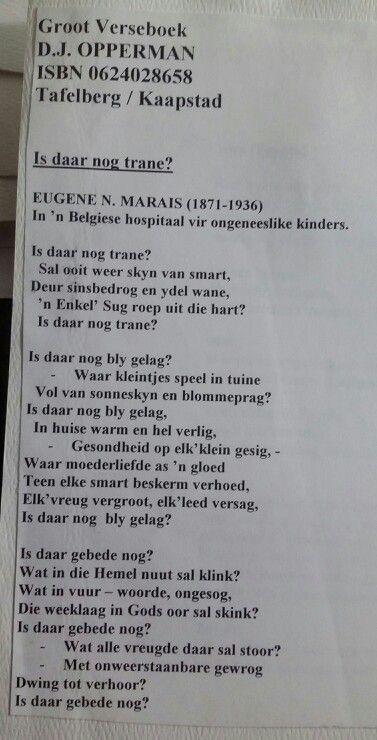 Is daar nog trane? ~ Eugene N. Marais ~ Afrikaanse Digkuns