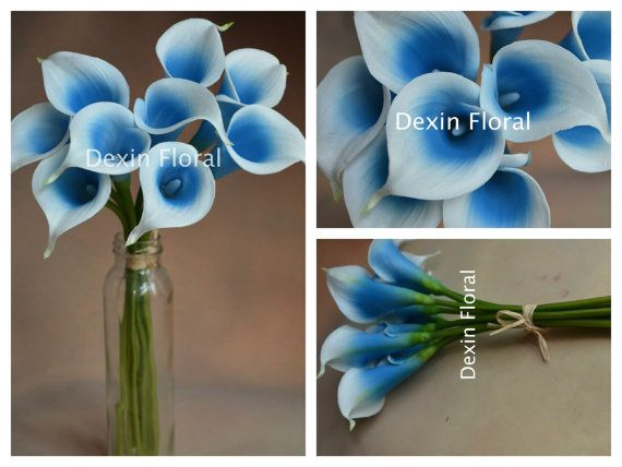 9pcs ~ 36pcs Natural Touch White Turquoise Blue Calla Lily Stems for Turquoise Silk Wedding Bouquets, Centerpieces, Wedding Decorations