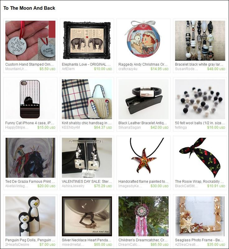To the Moon and Back. Curated by  Angie Bisset from SticksnStone on Etsy