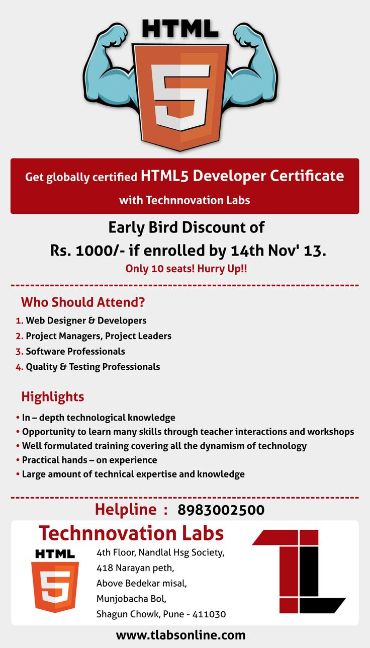 Get globally certified HTML5 Developer certificate with Technnovation labs. Early bird discount. http://www.tlabsonline.com/html5-training-course.html