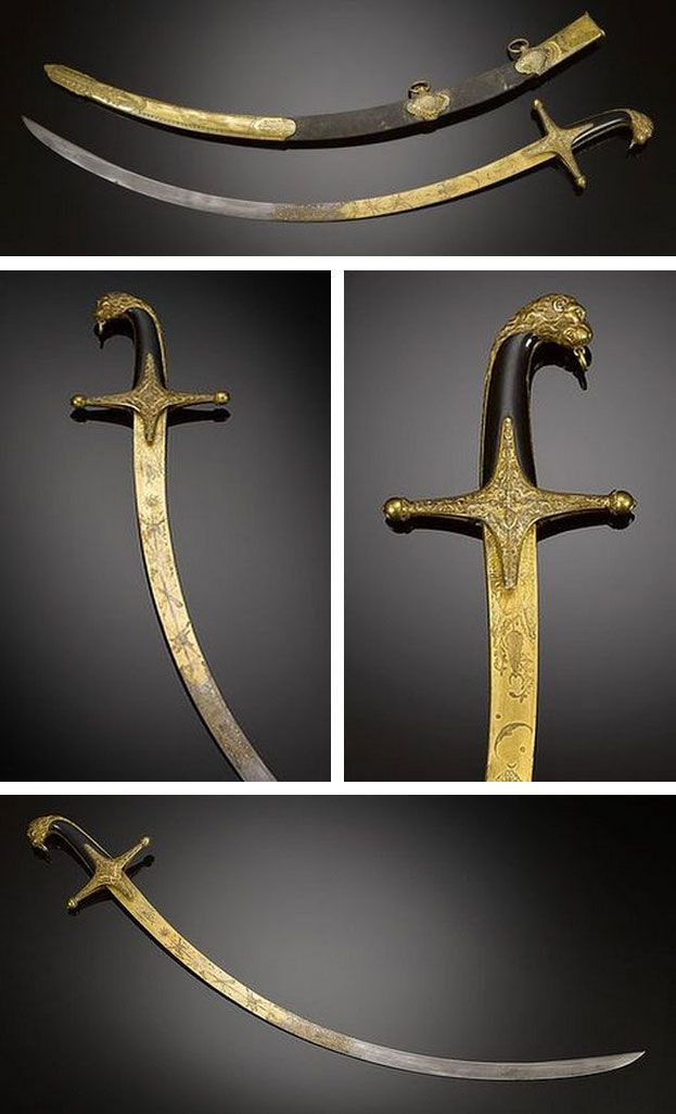 The curved blade is richly decorated with intricate Turkish and oriental motifs, including a fire-gilded lion's head on the hilt, while its gilt and embossed shagreen scabbard features two rings in order to hang from a belt.  Mameluke swords take their name from Mamluk warriors of Ottoman Egypt. Today, modern Mameluke swords are worn by U.S. Marine officers, commemorating the Marines' service during the First Barbary War, 1801-1805.   Source: Copyright © 2013 M.S. Rau Antiques LLC.