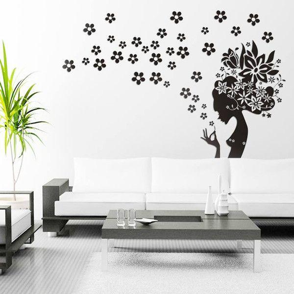 Wandtattoo - Wandtattoo Blumen Zärtlichkeit |Mädchen mit Blumen - ein Designerstück von taia-s bei DaWanda