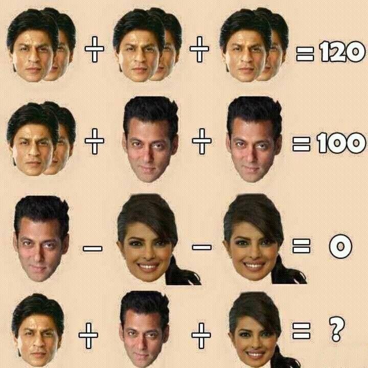 Logic Math Puzzles: Solve this Salman, Shah-rukh, Priyanka Math Puzzle! Best Riddles