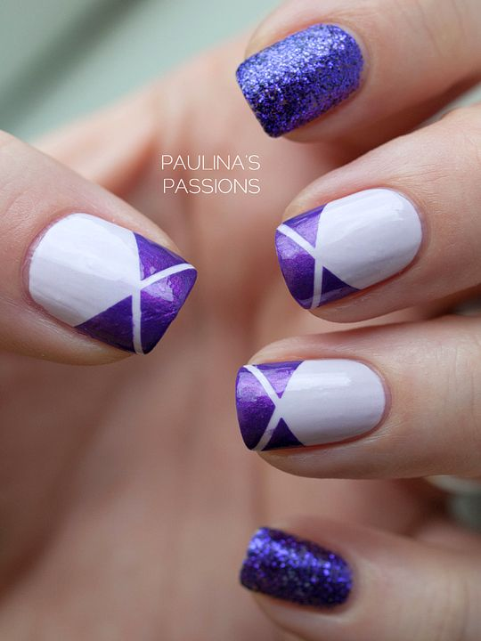 Purple striping tape nail design. The #purple and #white would look good as a french tip. #glitter