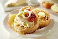Wensleydale cheese on buttered crumpets