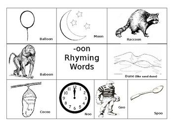 This is 10 rhyming mats / posters (regular paper size) each one with a different rhyming family. The following rhyming family are including -an, -ee, -ock, -oon, -ain,-ake,-op, -ing, -ox,-ed. Each mat has at least 8 or more words with pictures except for -ox it has only 4. 11 pages one is left blankThe pictures on the mats were picked because they easily give a clear view of what the words means.
