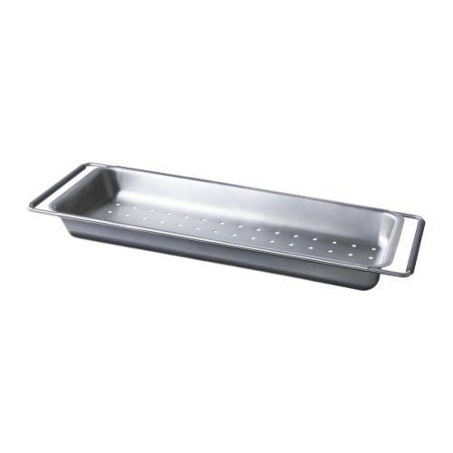 IKEA - DOMSJÖ, Durchschlag, Passt als zusätzliche Arbeitsfläche über Becken der BOHOLMEN Spüle, erleichtert das Abspülen, Wasser kann direkt in die Spüle ablaufen.Geeignet als Sieb zum Waschen von Gemüse und Salat oder zum Abschütten von Nudeln usw.