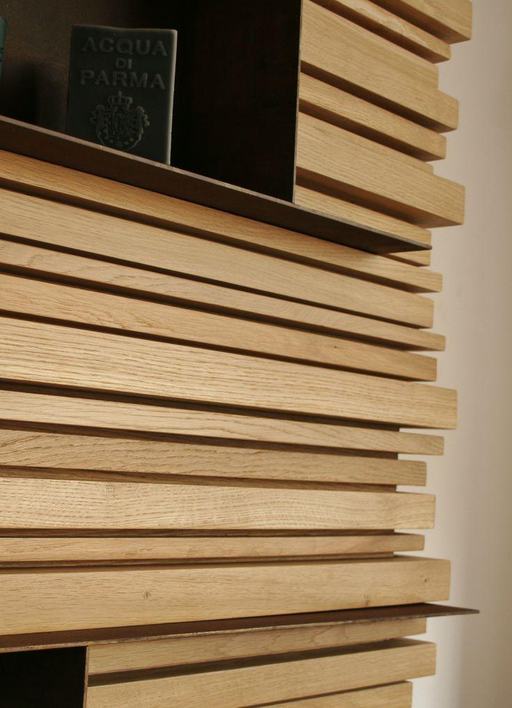 Habillage cloison métal et bois- par Atelier Luc Germain Détail structure