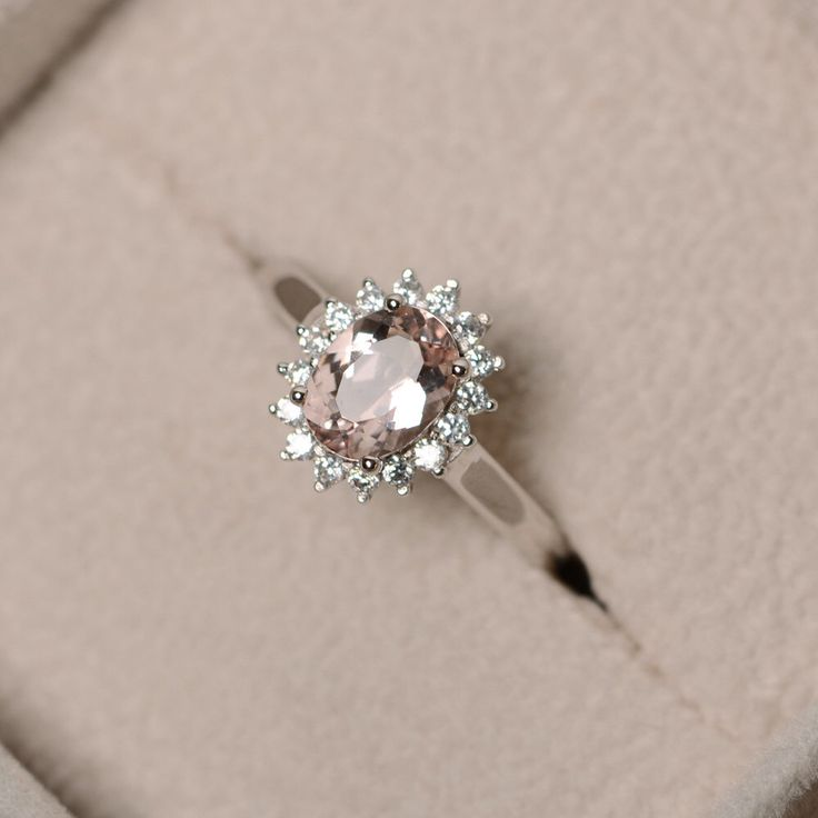 Natural morganite ring, pink gemstone, sterling silver, engagement ring, promise ring for her by LuoJewelry on Etsy https://www.etsy.com/listing/241314099/natural-morganite-ring-pink-gemstone