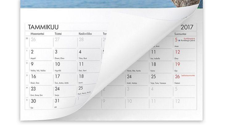 Suomalaiset nimipäivät seinäkalenterissa