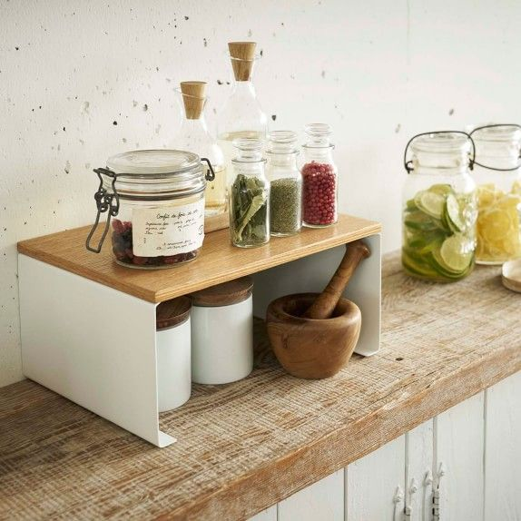 Tosca Wood Top Stackable Kitchen Rack Cabinet Storage Williams Sonoma In 2021 Kitchen Rack Classy Kitchen Countertop Storage