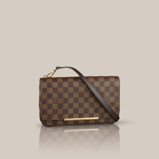 Hoxton PM Damier Ebene Canvas Whether carried across the body or as a light clutch, the Hoxton PM looks timeless in classic Damier canvas. Its ingenious interior design reveals numerous pockets and enough room for a Zippy wallet.