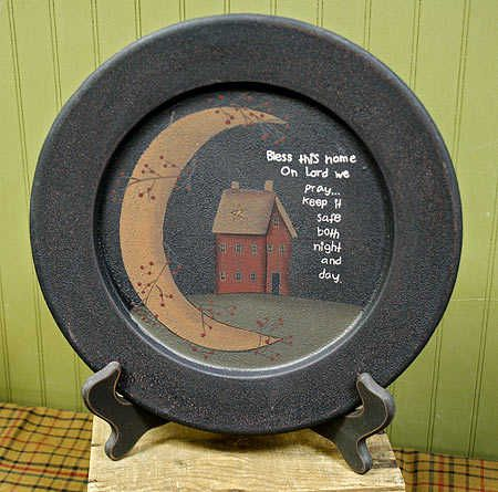 Primitive Country Craft Ideas | The Hearthside Collection Primitive Country House Plate set of 3 ...