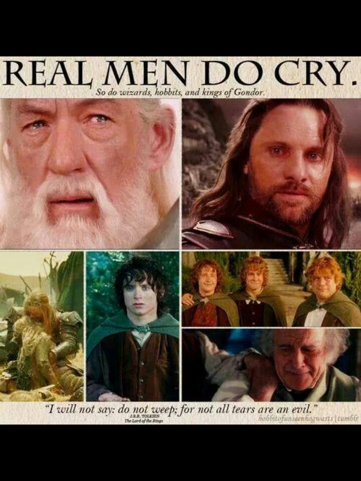 If Aragorn cries about something it is obviously manly to cry about it…But if he doesn't cry about it then you suck it up and stop being a little bitch!