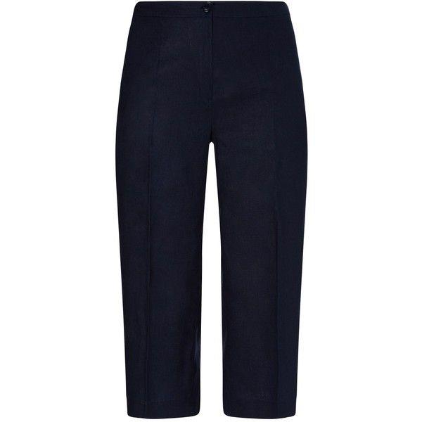 Windsmoor Navy Linen Culotte ($99) ❤ liked on Polyvore featuring pants, capris, navy, women, linen crop pants, cropped capri pants, cropped trousers, navy blue trousers and navy blue crop pants