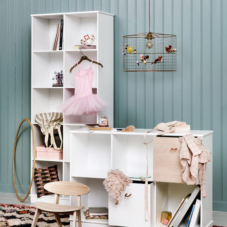 New Wood Collection Medium Horizontal Shelving Unit in White by Oliver Furniture