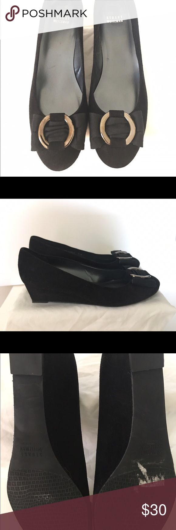 Stuart Weitzman Ballerina Wedge Black suede shoe that i adore but runs a little narrow. black suede with metal detail on ribbon. Beautiful shoe!! Stuart Weitzman Shoes Wedges