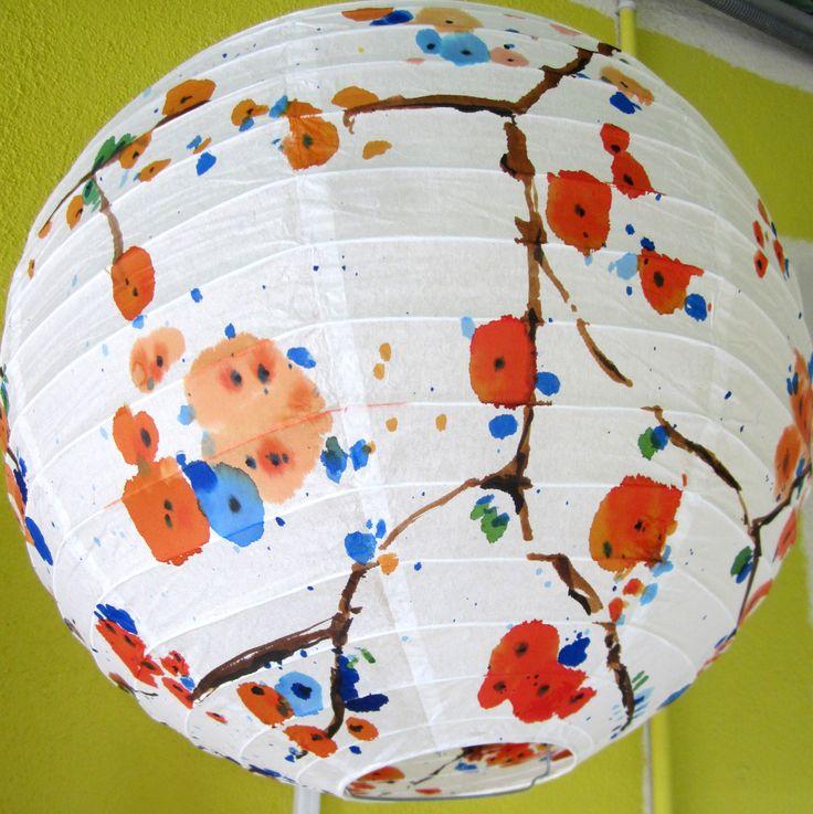 abat jour branche fleurs de cerisier suspension luminaire boule papier encre de couleur - Luminaire Boules Colores