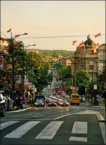 Kneza Milosa st, one of the major streets of Belgrade, Serbia