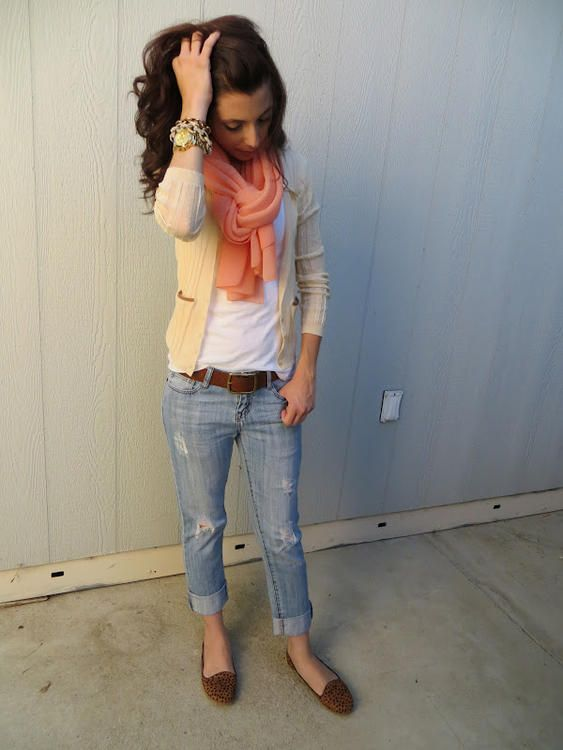 cream / peach / leopard / rolled denim