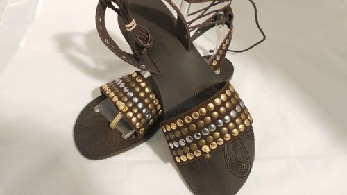 ITALIAN SOTTO SOPRA SANDALS BROWN WITH METAL STUDS NEW FOR SALE
