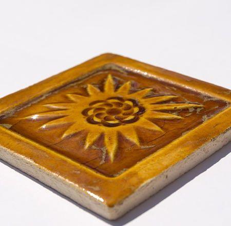 Handmade Ceramic Decorative Tile - Mexico in Honey by DeKa Ceramic Tiles
