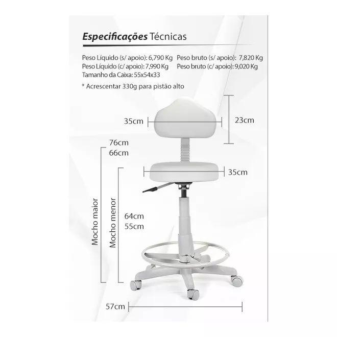 cadeira mocho luxo especial podologio e estetica c apoio pes