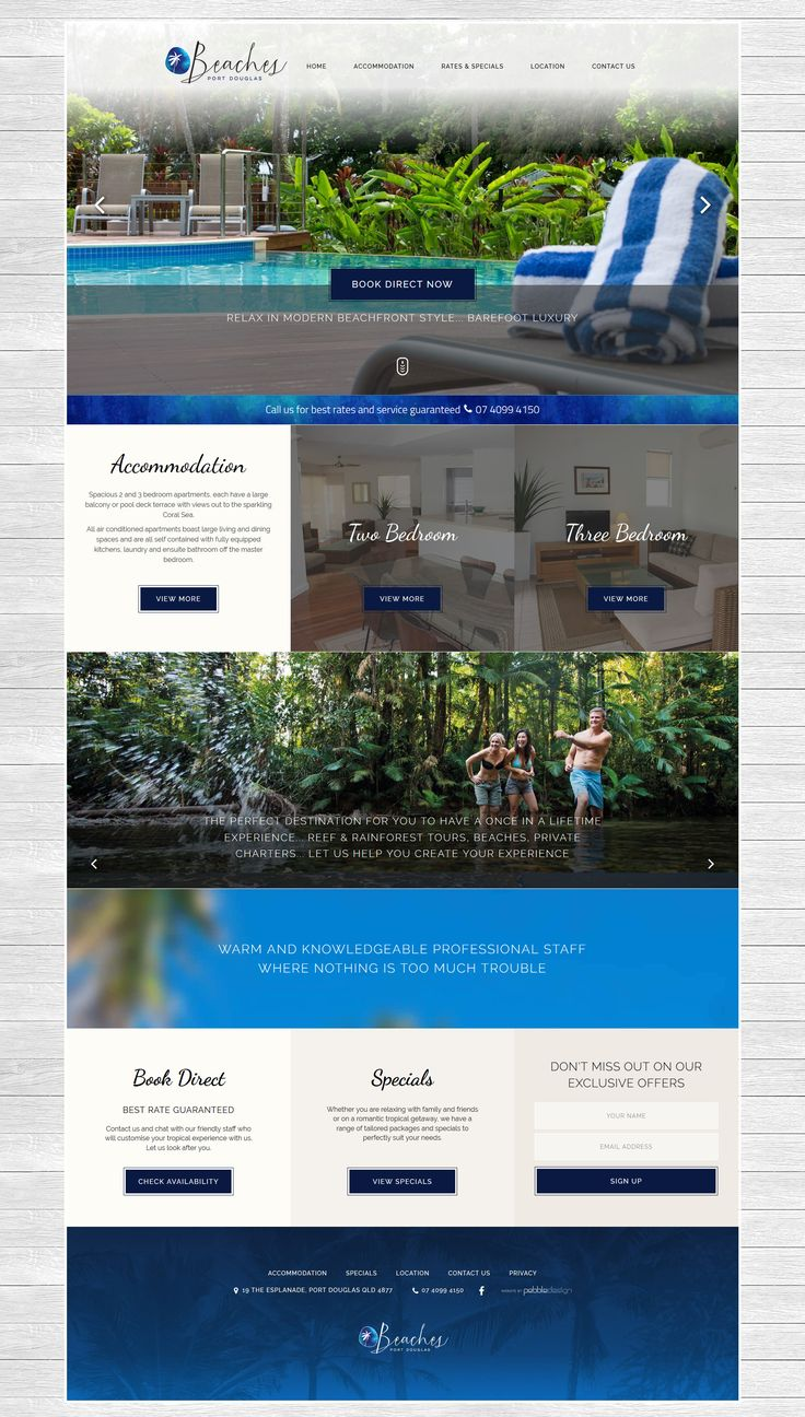 "We have a new site live for Beaches Port Douglas, have a look at it's simple and effective design.   See more - http://pebbledesign.com/our-work Site - http://www.beachesportdouglas.com.au/  ""Bring the whole family together to relax, connect and celebrate in this serene beachfront oasis"""