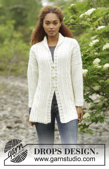 Irish Winter Cardigan by DROPS Design. Jacket with cables and lace pattern. Free…
