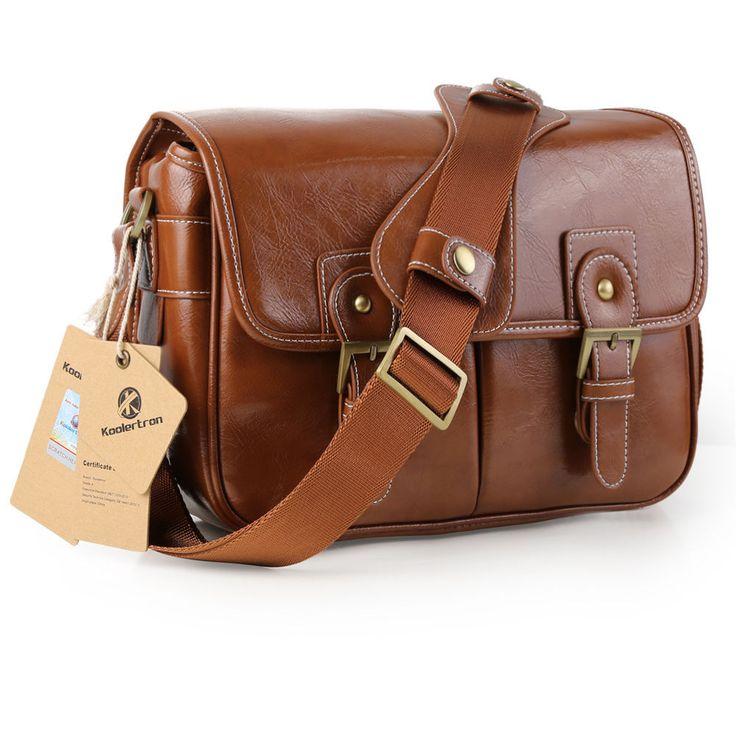 Vintage Waterproof PU Leather DSLR Camera Bag Padding Case Messager Shoulder Bag #Koolertron