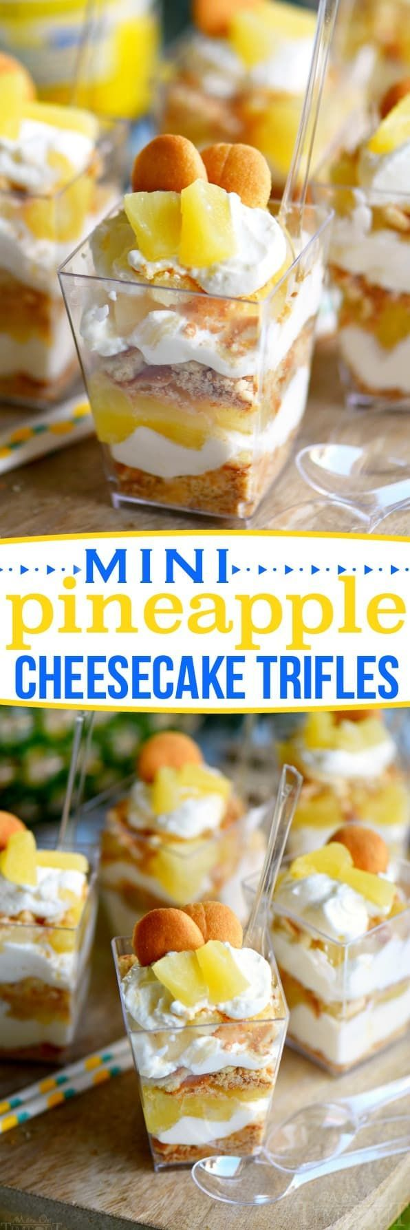 These Mini Pineapple Cheesecake Trifles are loaded with pineapple flavor! Perfect for an after-school snack, dessert, or party! // Mom On Timeout #pineapple #SharetheSunshine #ad